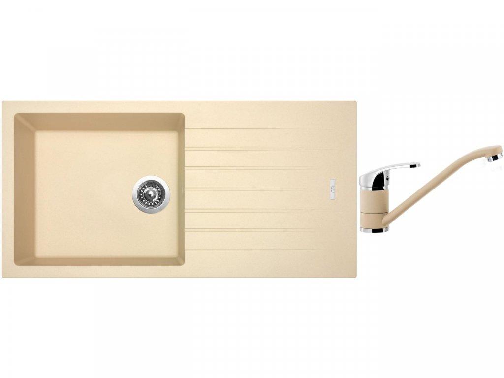 Granitový dřez Sinks PERFECTO 1000 Sahara + Dřezová baterie Sinks PRONTO Sahara