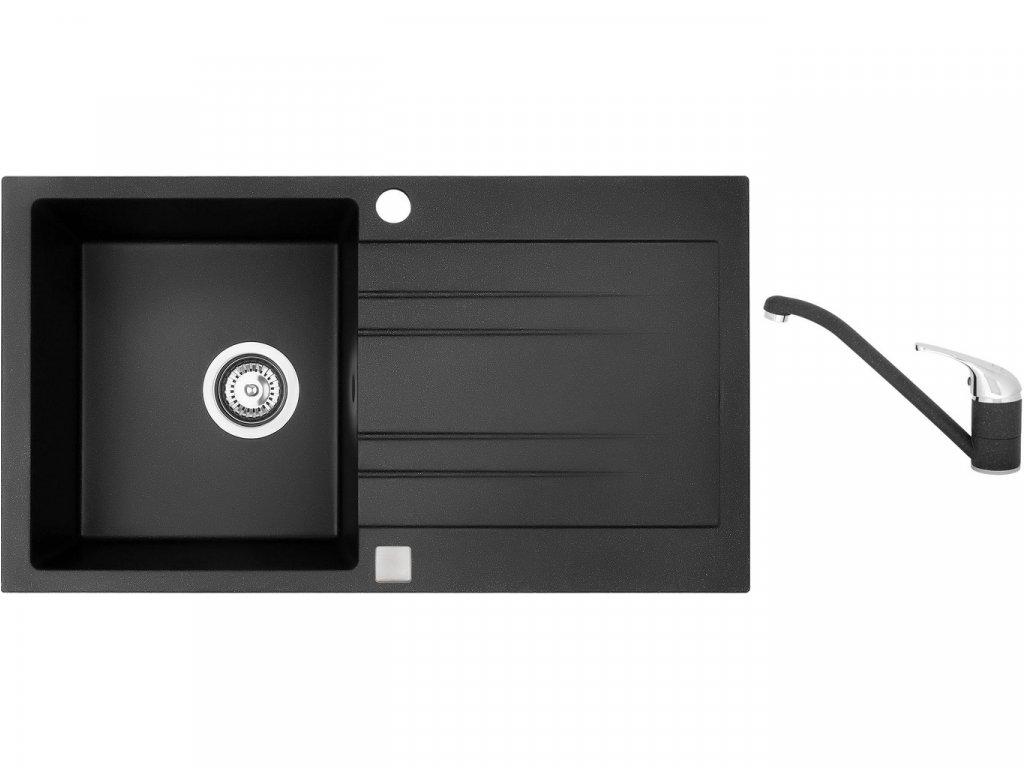 Granitový dřez Sinks RAPID 780 Granblack + Dřezová baterie Sinks CAPRI 4 Granblack