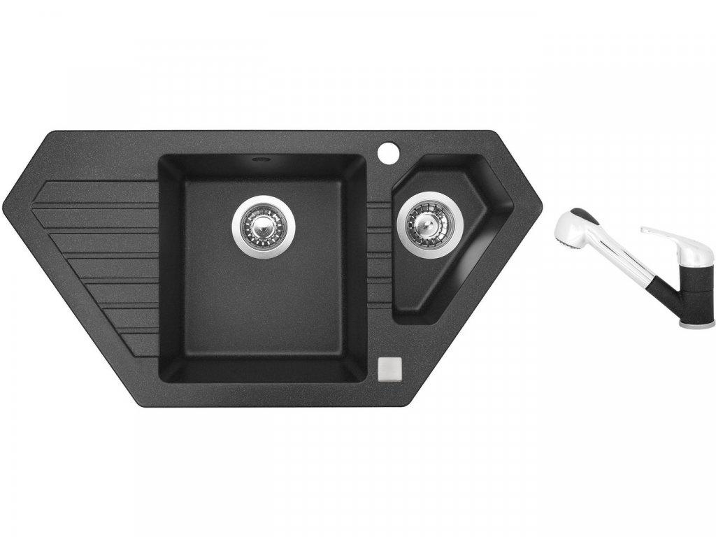 Granitový dřez Sinks BRAVO 850.1 Granblack + Dřezová baterie Sinks CAPRI 4 S Granblack
