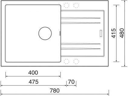 Granitový dřez Sinks LINEA 780 N Metalblack  + Čistící pasta Sinks na dřezy