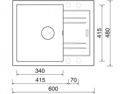 Granitový dřez Sinks LINEA 600 N Granblack  + Čistící pasta Sinks na dřezy