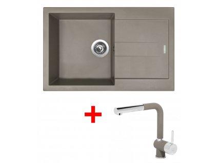 Set Sinks AMANDA 780 Truffle+MIX 3P GR  + Čistící pasta Sinks na dřezy