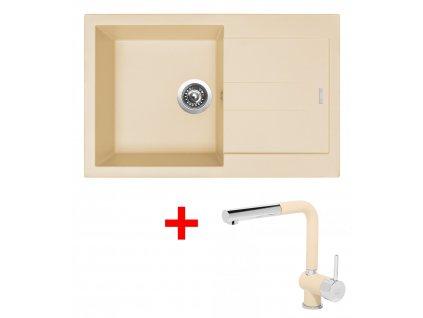 Set Sinks AMANDA 780 Sahara+MIX 3P GR  + Čistící pasta Sinks na dřezy