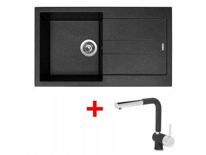 Sinks AMANDA 860 Metalblack+MIX 3P GR  + Čistící pasta Sinks na dřezy