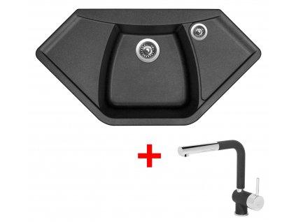 Sinks NAIKY 980 Metalblack+MIX 3P GR  + Čistící pasta Sinks na dřezy