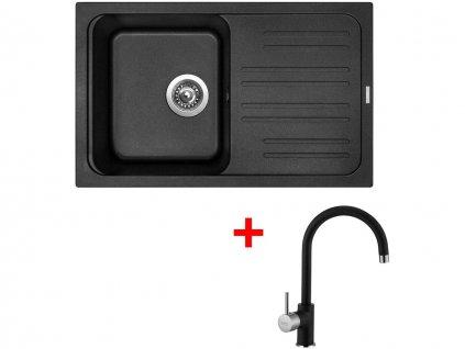 Set Sinks CLASSIC 740 Metalblack+VITALIA GR  + Čistící pasta Sinks na dřezy