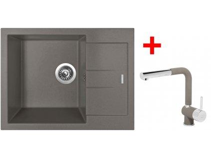 Set Sinks AMANDA 650 Truffle+MIX 3 P GR  + Čistící pasta Sinks na dřezy