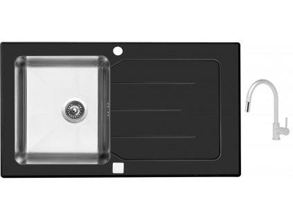Sinks VITRUM 860 V 1mm kartáčovaný černý + Dřezová baterie Sinks MIX 35 P matná  + Čistící pasta Sinks na dřezy