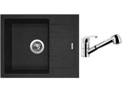 Granitový dřez Sinks LINEA 600 N Granblack + Dřezová baterie Sinks LEGENDA S Chrom  + Čistící pasta Sinks na dřezy