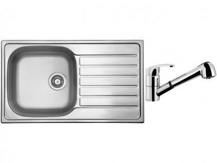 Nerezový dřez Sinks HYPNOS 860 V 0,8mm leštěný + Dřezová baterie Sinks LEGENDA S Chrom