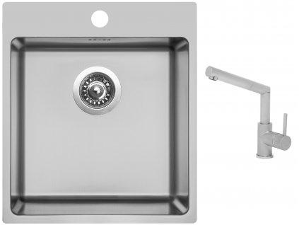 Nerezový dřez Sinks BLOCKER 450 V 1mm kartáčovaný + Dřezová baterie Sinks MIX 350 P matná  + Čistící pasta Sinks na dřezy