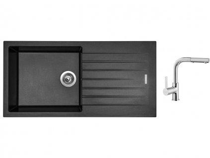Granitový dřez Sinks PERFECTO 1000 Metalblack + Dřezová baterie Sinks ENIGMA S chrom  + Čistící pasta Sinks na dřezy