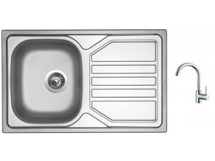 Nerezový dřez Sinks OKIO 800 V 0,7mm leštěný + Dřezová baterie Sinks MIX 35 chrom
