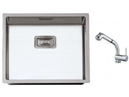 Nerezový dřez Sinks BOX 550 FI 1,0mm + Dřezová baterie Sinks MIX 3 S Chrom  + Čistící pasta Sinks na dřezy