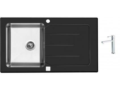 Sinks VITRUM 860 V 1mm kartáčovaný černý + Dřezová baterie Sinks BOX N.Y. PLAZA chrom