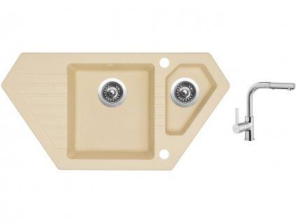 Granitový dřez Sinks BRAVO 850.1 Sahara + Dřezová baterie Sinks ENIGMA S chrom