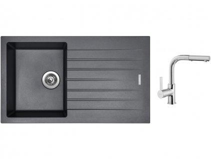 Granitový dřez Sinks PERFECTO 860 Titanium + Dřezová baterie Sinks ENIGMA S chrom  + Čistící pasta Sinks na dřezy