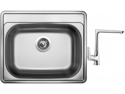 Nerezový dřez Sinks COMFORT 600 V 0,6mm matný + Dřezová baterie Sinks baterie CASPIRA chrom