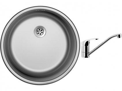 Nerezový dřez Sinks ROUND 450 M 0,6mm matný + Dřezová baterie Sinks PRONTO chrom