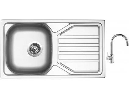 Nerezový dřez Sinks OKIO 780 V 0,5mm leštěný + Dřezová baterie Sinks VITALIA chrom