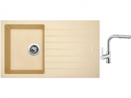 Granitový dřez Sinks PERFECTO 860 Sahara + Dřezová baterie Sinks ENIGMA S chrom  + Čistící pasta Sinks na dřezy
