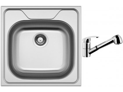 Nerezový dřez Sinks CLASSIC 480 V 0,8mm leštěný + Dřezová baterie Sinks LEGENDA S Chrom