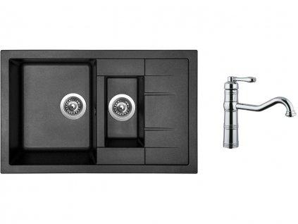 Granitový dřez Sinks CRYSTAL 780.1 Metalblack + Dřezová baterie Sinks RETRO CASANOVA lesklá