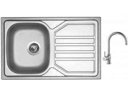 Nerezový dřez Sinks OKIO 800 V 0,7mm leštěný + Dřezová baterie Sinks VITALIA chrom
