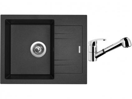 Granitový dřez Sinks LINEA 600 N Metalblack + Dřezová baterie Sinks LEGENDA S Chrom  + Čistící pasta Sinks na dřezy