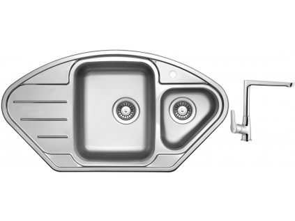 Nerezový dřez Sinks LOTUS 945.1 V 0,8mm leštěný + Dřezová baterie Sinks baterie CASPIRA chrom
