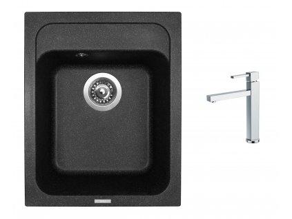 Granitový dřez Sinks CLASSIC 400 Granblack + Dřezová baterie Sinks BOX N.Y. PLAZA chrom