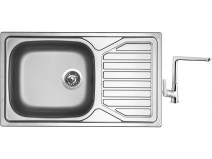 Nerezový dřez Sinks OKIO 860 XXL V 0,6mm matný + Dřezová baterie Sinks baterie CASPIRA chrom