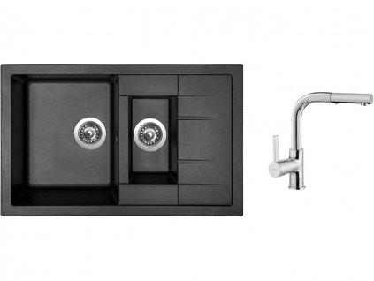 Granitový dřez Sinks CRYSTAL 780.1 Metalblack + Dřezová baterie Sinks ENIGMA S chrom  + Čistící pasta Sinks na dřezy