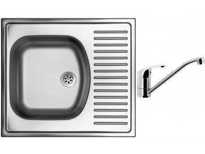 Nerezový dřez Sinks SHORT 580 M 0,5mm matný + Dřezová baterie Sinks PRONTO chrom
