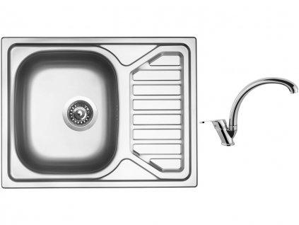 Nerezový dřez Sinks OKIO 650 V 0,6mm texturovaný + Dřezová baterie Sinks baterie EVERA chrom