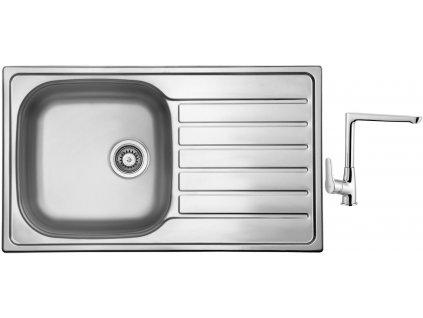 Nerezový dřez Sinks HYPNOS 860 V 0,6mm matný + Dřezová baterie Sinks baterie CASPIRA chrom