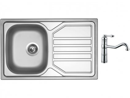 Nerezový dřez Sinks OKIO 800 V 0,7mm leštěný + Dřezová baterie Sinks RETRO CASANOVA lesklá