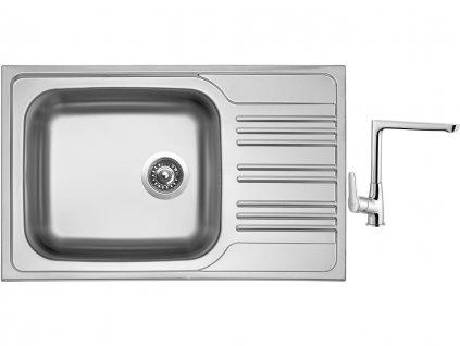 Nerezový dřez Sinks STAR 780 XXL V 0,7mm matný + Dřezová baterie Sinks baterie CASPIRA chrom