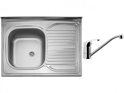 Nerezový dřez Sinks CLP-D 800 M 0,5mm levý matný + Dřezová baterie Sinks PRONTO chrom