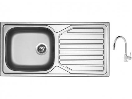 Nerezový dřez Sinks OKIO 1000 XXL V 0,6mm matný + Dřezová baterie Sinks MIX 35 P chrom