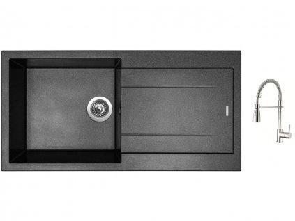Granitový dřez Sinks AMANDA 990 Metalblack + Dřezová baterie Sinks MIX 35 PROF S chrom  + Čistící pasta Sinks na dřezy