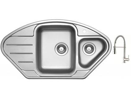 Nerezový dřez Sinks LOTUS 945.1 V 0,8mm leštěný + Dřezová baterie Sinks MIX 35 PROF S chrom