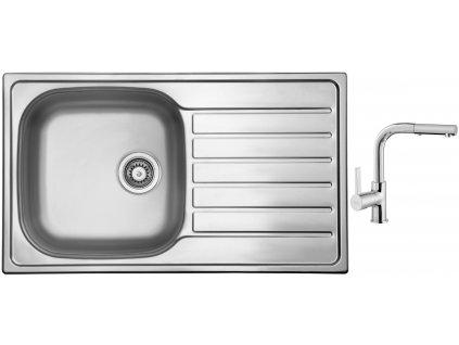 Nerezový dřez Sinks HYPNOS 860 V 0,6mm matný + Dřezová baterie Sinks ENIGMA S chrom