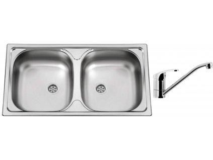 Nerezový dřez Sinks OKIO 780 DUO M 0,5mm matný + Dřezová baterie Sinks PRONTO chrom