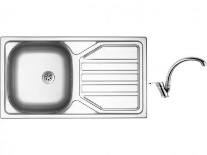 Nerezový dřez Sinks OKIO 780 M 0,5mm matný + Dřezová baterie Sinks baterie EVERA chrom