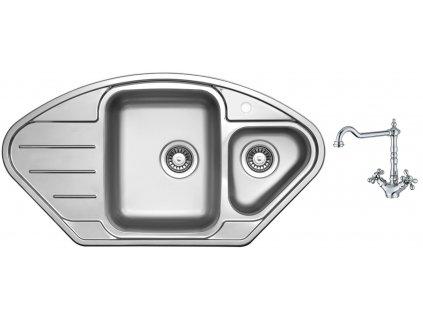 Nerezový dřez Sinks LOTUS 945.1 V 0,8mm leštěný + Dřezová baterie Sinks RETRO 2000 lesklá