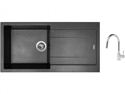 Granitový dřez Sinks AMANDA 990 Metalblack + Dřezová baterie Sinks MIX 35 P chrom