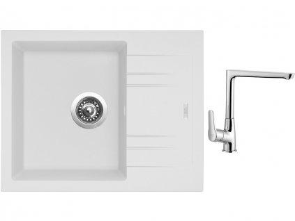 Granitový dřez Sinks LINEA 600 N Milk + Dřezová baterie Sinks baterie CASPIRA chrom