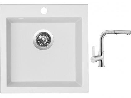 Granitový dřez Sinks VIVA 455 Milk + Dřezová baterie Sinks ENIGMA S chrom