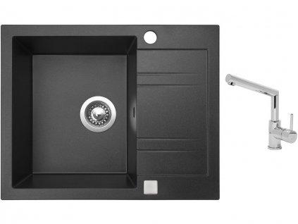 Granitový dřez Sinks LINEA 600 Granblack + Dřezová baterie Sinks MIX 350 P chrom  + Čistící pasta Sinks na dřezy